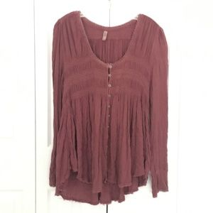 womens FREE PEOPLE pink mauve top